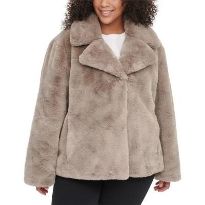 ダナ キャラン ニューヨーク コート アウター レディース Plus Size Faux-Fur Coat Thistle