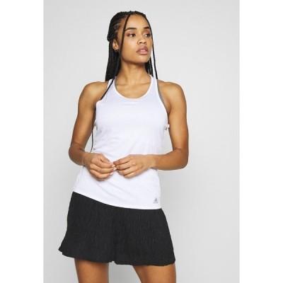 アディダス カットソー レディース トップス CLUB TANK - Sports shirt - white/silver/black