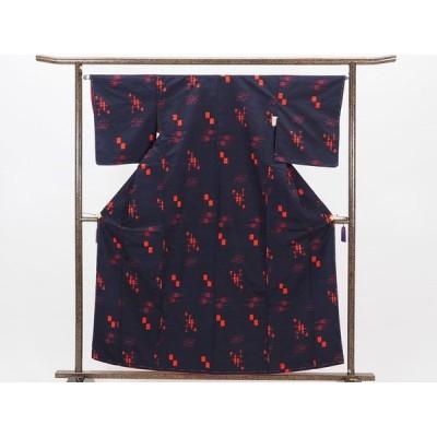 リサイクル着物 紬 正絹濃い紺地袷真綿紬着物未着用品
