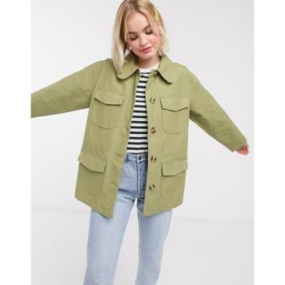 モンキ レディース ジャケット・ブルゾン アウター Monki waisted utility jacket in green
