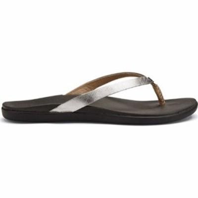 オルカイ ビーチサンダル Hoopio Leather Flip-Flop Silver/Charcoal Leather