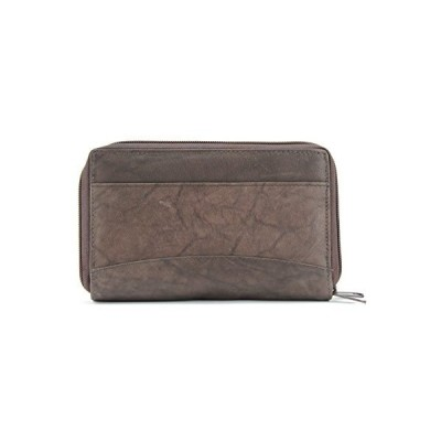 Bacci Leather Double Zipper -Around Clutch Wallet with ID Window- Brown並行輸入