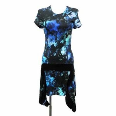【中古】ジャストカヴァリ ワンピース Multi-Color Stretch Shift Asymmetrical Dress 半袖 ひざ丈 総柄 XXS 青 黒