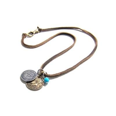AMANOGAWA ネックレス レザーネックレス レディース メンズ レザー 革 コイン ターコイズ 天然石 ブラウン