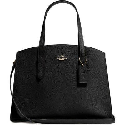 コーチ Coach レディース ハンドバッグ バッグ Charlie Carryall Black Leather Top Handle Bag Black
