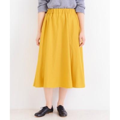 【ニーム/NIMES】 カラーフラノ&スエード フレアスカート