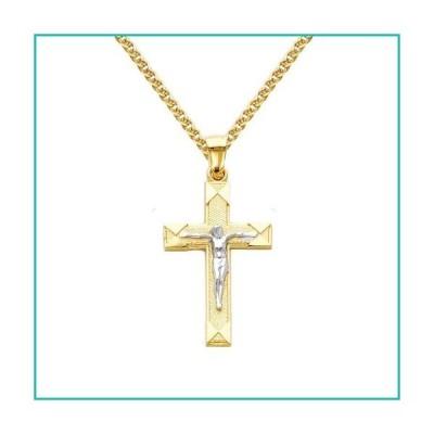 特別価格The World Jewelry Center 14K ツートンゴールド十字架宗教ペンダント フラットオープンウィートチェーンネックレス好評販売中