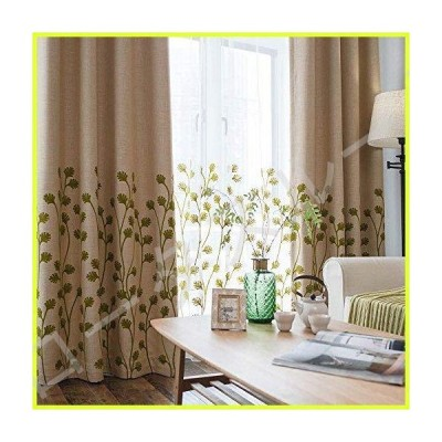 "Melodieux Plant Embroidery Curtain for Living Room and Matching Sheer Curtain Bundle, Green, 52"" W x 96"" L (1 Panel Drape + 1 Panel Sheer)"