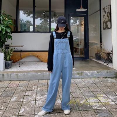 デニムサロペットオーバーオールレディースゆったりデニムサロペットサロペットパンツ女性デニムパンツジーンズ体型カバー
