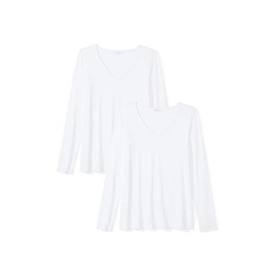 Daily Ritual (デイリー リチュアル) レディース ジャージー 長袖 Vネック Tシャツ, ホワイト/ホワイト, 2XL (日本