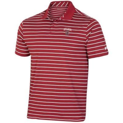 アンダーアーマー ポロシャツ トップス メンズ Under Armour Men's University of South Carolina Performance Stripe Polo Shirt Black/Red