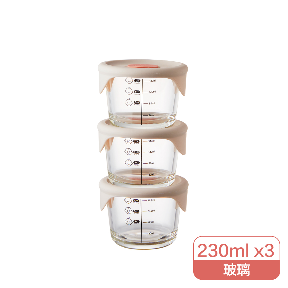 LocknLock樂扣樂扣寶寶副食品耐熱玻璃調理盒圓3入230ml