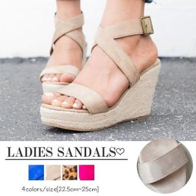 サンダルレディースウェッジソールサンダル厚底クロスグラディエーターサンダル夏アンクルストラップサンダル美脚歩きやすいsandalレディース靴