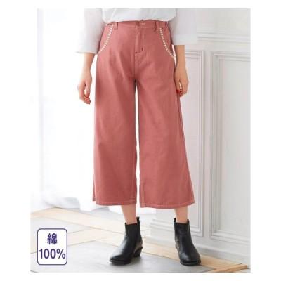 パンツ ワイド ガウチョ 大きいサイズ レディース 綿100% 刺しゅうポイント ワイドクロップド ゆったりヒップ 73/76/80 ニッセン nissen