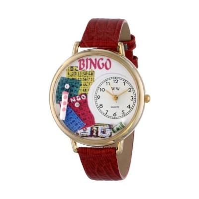 ビンゴ 赤レザーバンド ゴールドフレーム腕時計 #G0430007