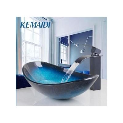 洗面ボウル 強化ガラス 真ちゅう盆地 ハンドペイントビクトリーシンクベッセルシンク 洗面器
