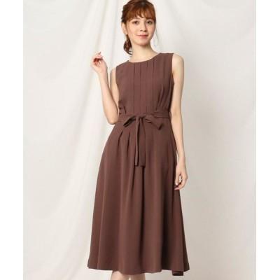 Couture Brooch/クチュールブローチ 【洗える】フロントタックデザインワンピース ブラウン(042) 36(S)