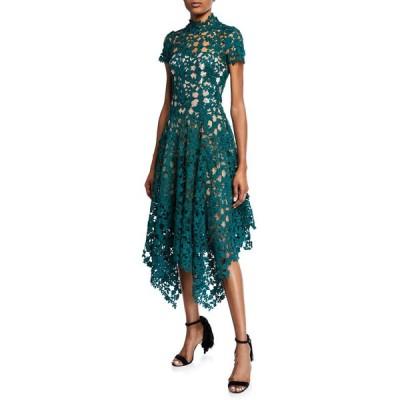 オスカー デ ラ レンタ レディース ワンピース トップス Cap-Sleeve Lace Illusion Cocktail Dress