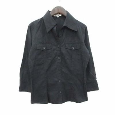 【中古】オフオン ofuon シャツ 七分袖 オープンカラー 40 黒 ブラック /CT レディース