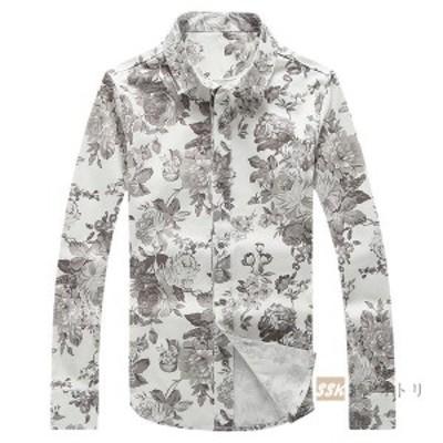 シャツ メンズ 花柄シャツ カジュアルシャツ メンズシャツ アロハシャツ 花柄 長袖シャツ 柄和 開襟 スリム トップス