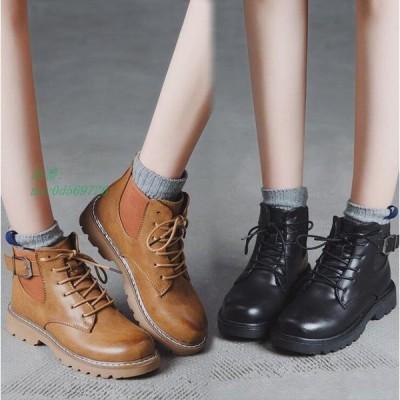 ショートブーツ レディース ブーツ 黒色 PU 編み上げ 靴 ブーツ 秋 レースアップ ワークブーツ 疲れない 歩きやすい