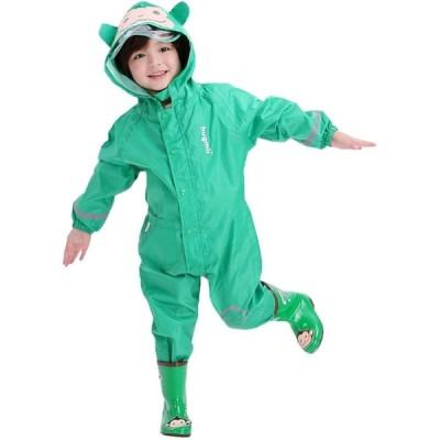 キッズレインコート、男の子と女の子のためのレインスーツレインジャケット子供のポンチョ子供の防水レインコート子供ギアレインウェア、緑(S/1-3歳)