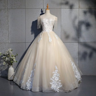 ロングドレス 演奏会 刺繍 ロング ステージ カラードレス ビジュー ウエディングドレス 半袖 ロングドレス シャンパン色 パーティードレス
