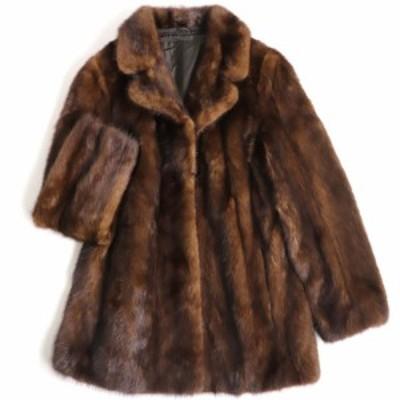極美品▼日本製 GIFUMOUHI 岐阜毛被 MINK ミンク 本毛皮コート ブラウン 毛質艶やか・柔らか◎
