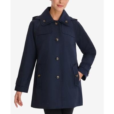 ロンドンフォグ コート アウター レディース Single-Breasted Hooded Raincoat Midnight Navy