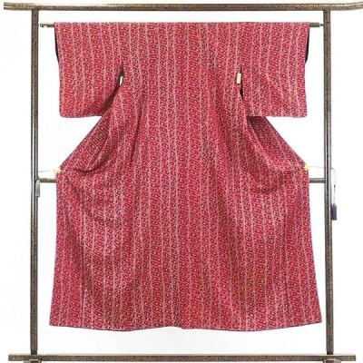 リサイクル着物 小紋 正絹赤地絞り袷小紋着物未使用品