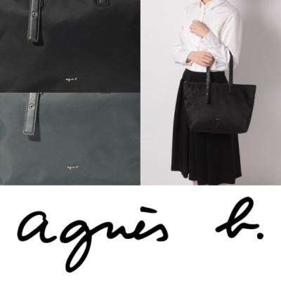 アニエスベー agnes b ロゴ ナイロン トートバッグ バッグ ブラック グレー 通勤 通学 レディース 取り寄せ