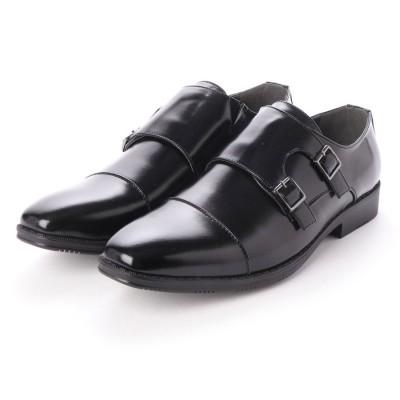 ジーノ Zeeno ビジネスシューズ メンズ 幅広 3EEE 防滑 ダブルモンクストラップ ストレートチップ 紳士靴 大きいサイズ対応 キングサイズ (Black)