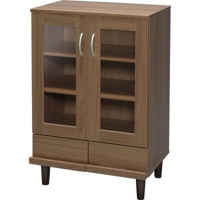 《食器や調理小物、ストック品までまとめ自由にて収納できる》アイリスオーヤマ 60cm幅カップボード KPB-9360ウォールナット