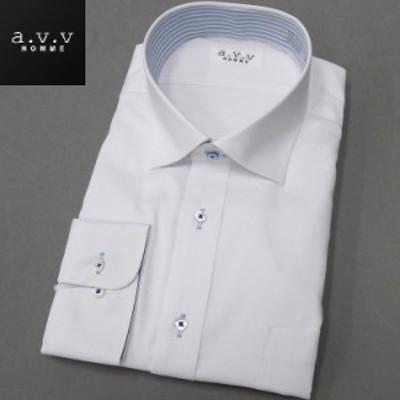 [a.v.v HOMME]長袖ドレスシャツ 白ドビー/ヘリンボーン ワイドカラー 形態安定 ビッグサイズ メンズ 3L/4L/5L avv-big05