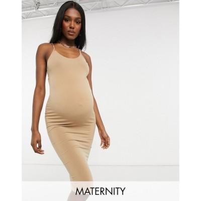 フラウンスロンドン Flounce London Maternity レディース ワンピース マタニティウェア キャミワンピ Flounce Maternity Basic Jersey Cami Dress In Camel