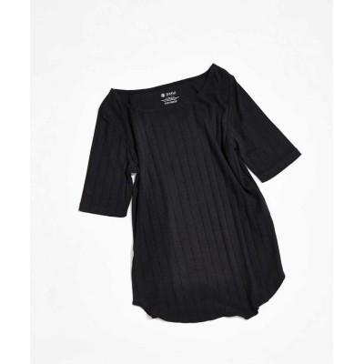 (nano・universe/ナノユニバース)AntiSoaked リブスクエアネック5分袖Tシャツ/レディース ブラック