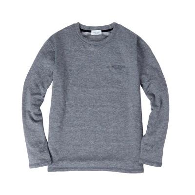 カチオン裏ブロックフリース長袖クルーネックTシャツ/FIRST DOWN the basic Tシャツ・カットソー, T-shirts,
