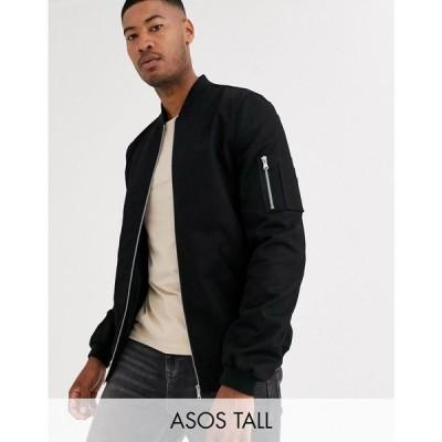 エイソス ASOS DESIGN メンズ ブルゾン ミリタリージャケット アウター Tall bomber jacket with MA1 pocket in black ブラック