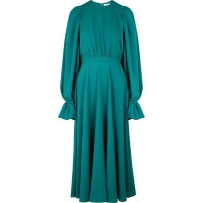 ロクサンダ Roksanda レディース パーティードレス ミドル丈 ワンピース・ドレス Raima Turquoise Ruched Cady Midi Dress Blue