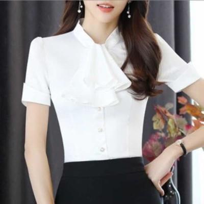 大きいサイズ トップス 黒 半袖 綿 夏 ol 白 シャツ おしゃれ シンプル 体型カバー 体形 かわいい 上品 かわ大