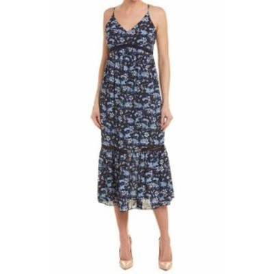 CeCe  ファッション ドレス Cece Womens Blue Size 8 Floral Print Ladder Pleated Stitch Maxi Dress