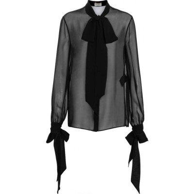 イヴ サンローラン Saint Laurent レディース ブラウス・シャツ トップス neck-tie silk georgette shirt Noir