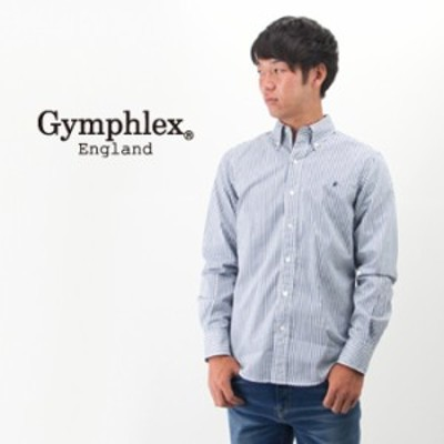 Gymphlex ジムフレックス メンズ ボタンダウン ストライプ/ギンガムチェック シャツ[J-0643TSS]【BASIC】(20-w)