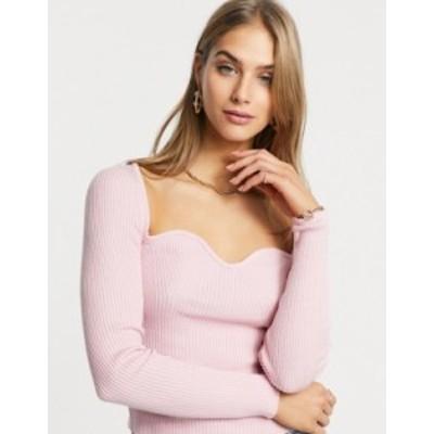 エイソス レディース ニット・セーター アウター ASOS DESIGN sweater with sweetheart neckline in pink Pink