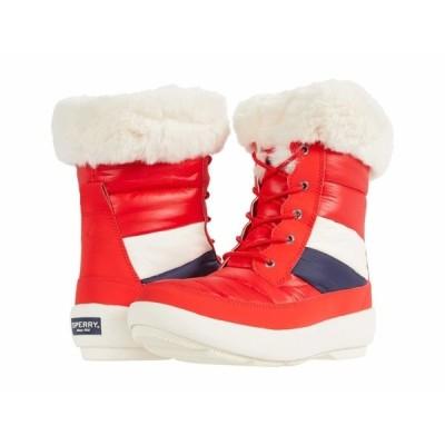 スペリー ブーツ&レインブーツ シューズ レディース Bearing PlushWave Boots Nautical Stripe Nylon Red