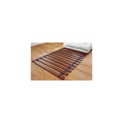 ds-2403968 薄型 軽量 桐 すのこベッド ブラウン セミシングル ロール式 (フレームのみ) 防傷樹脂製クッション付 木製 通気性 【布団別売】 (ds2403968)