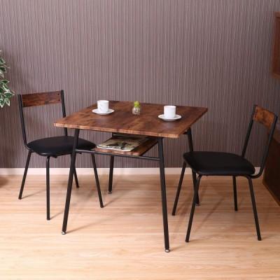 不二貿易 ダイニングテーブル 2人用 幅75cm ブラウン ヴィンテージ風 収納棚 ナビア 14659