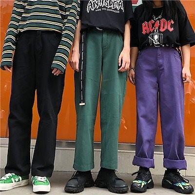 韓国ファッション カラーパンツ 韓国 オルチャン 3色展開 黒 紫 緑 ユニセックス メンズ レディース 体育祭 ダンス ワイドシルエット ビッグサイズ