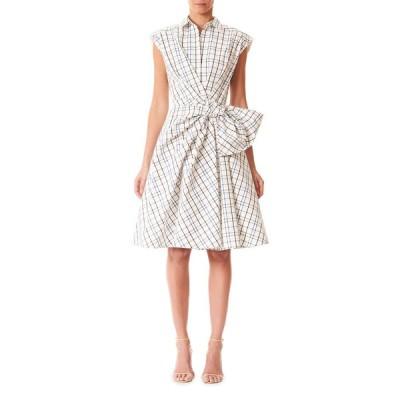 キャロライナヘレラ レディース ワンピース トップス Bow-Waist Checkered Cap-Sleeve Shirtdress
