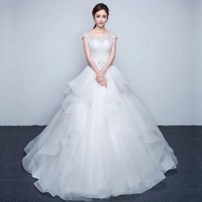 ウエディングドレス 花嫁 結婚式 韓国 大きいサイズ ウェディングドレス aラインドレス ホワイト 二次会 Aライン シンプル 白 半袖 花嫁 パーティードレス